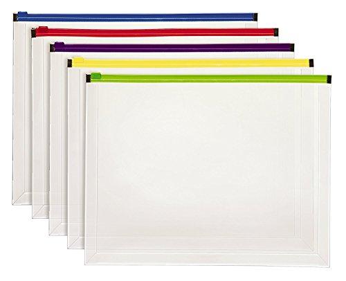 Esselte Poly Zip Envelope, Letter Size, Assorted Color Zi...