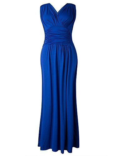 Neck Waist Women Elegant Navy V Ruffle High Maxi Party Dress EFdw6q