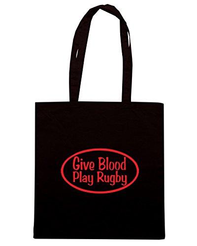 T-Shirtshock - Bolsa para la compra TRUG0119 play rugby logo Negro