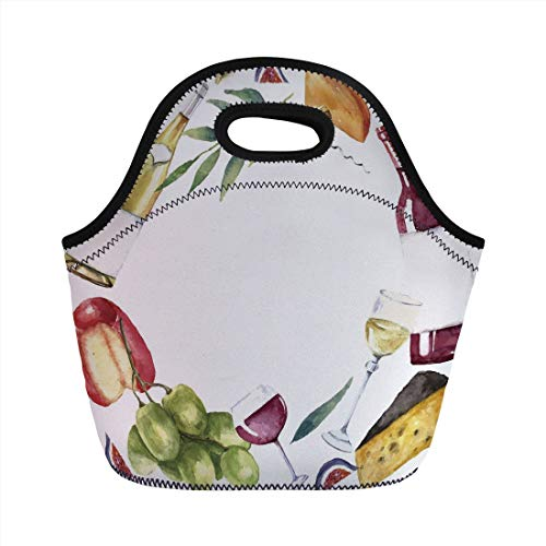 - Wine,Round Frame with Hand Painted Food Objects Watercolor Wine Cheese Fruits Collection Decorative,Multicolor,for Kids Adult Thermal Insulated Tote Bags