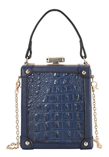 Diophy PU Leather Solid Crocodile Pattern Structured Top Handle Handbag with Removable Chain Strap (Crocodile Print Patent Bag)