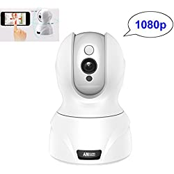 Amgaze IP Wireless Security Camera, 1080P WiFi HD Pan Tilt Cam Surveillance (Day / Night Vision, 2 Way Audio, SD Card Slot, Alarm, Mobile Phone Android / iOS) for Pet Puppy Baby Monitor