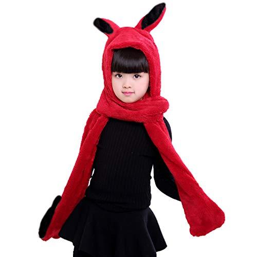 4659b37105863 QCHOMEE Kids Teens Girls Boys Animal Winter Hat 3 in 1 Warm Plush Fluffy Cartoon  Winter