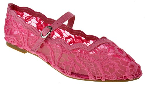BAMBOO Goodness 49 Womens Maryjane Pointed Toe Floral Flats Pink Lace 8.5 ()