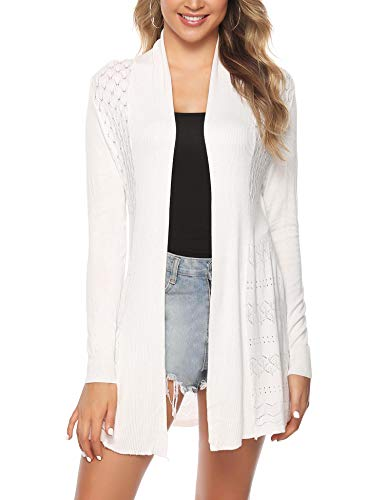(iClosam Womens Casual Long Sleeve Open Front Cardigan Knit Sweater White)