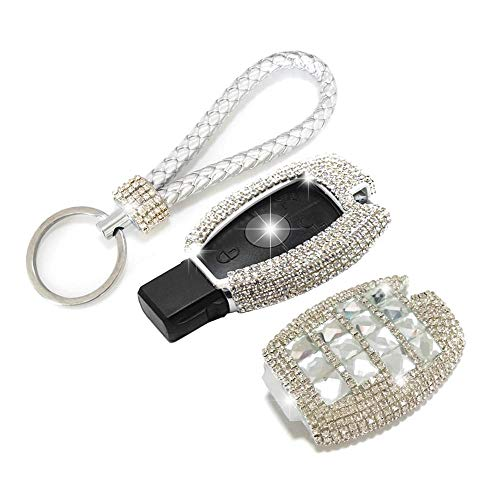 Thor-Inst Car Key Case Key Shell Fob Key Cover Case Bag Holder Key Chain with Bling Diamond For Mercedes-Benz C E S M CLS CLK GLK GL Class 2/3-button Keyless Entry Remote Control Smart Key,et (Silver)
