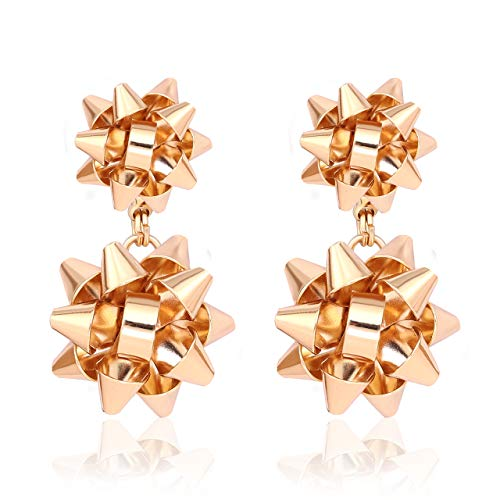 (VK Accessories 3 Pairs Christmas Earring Different Styles Bow Shape Santa Reindeer Earrings (Gold 2 bow drop)