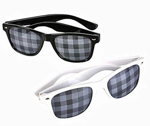 2 Sunglasses Wayfarer Style Glasses Black White - White Checkered And Sunglasses Black