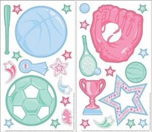 Borders Unlimited GIRLS pink purple decor Basketball tennis SOFTBALL soccer WALL paper STICKERS room sports Theme - Easy to Install & Remove - NO Sticky RESIDUE ()