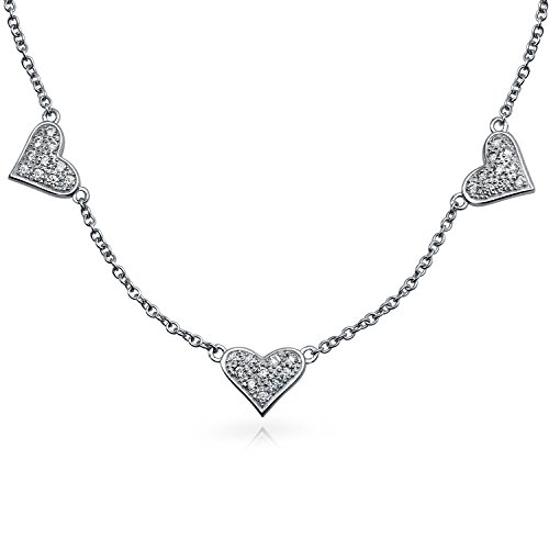 Bling Jewelry Princess Cut 3mm CZ Gold Plated Bridal Tennis Necklace 17 Inches (Station Necklace Shaped Heart)