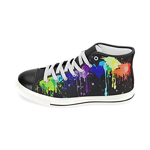 Interestprint Lace-up Arc-en-ciel Peinture Splash Classique Haut Haut Hommes Sneakers Mode Fitness Chaussures En Toile