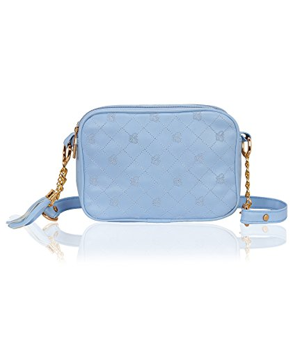 Kleio Quilted Faux Leather Double Compartment Crossbody Messenger Cell Phone Purse Women Girls Bag (turquoise)