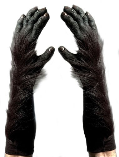 Zagone Gorilla Gloves, Black Fingers, Faux Fur, Black Gloves -