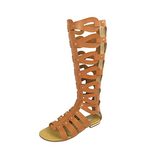 OCHENTA Womens Cut Out Flat Knee Boots Gladiator Sandals Brown On681EG