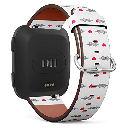 - Compatible with Fitbit Versa - Quick-Release Leather Band Bracelet Strap Wristband Replacement - Figure Eight Knot Heart Hearts