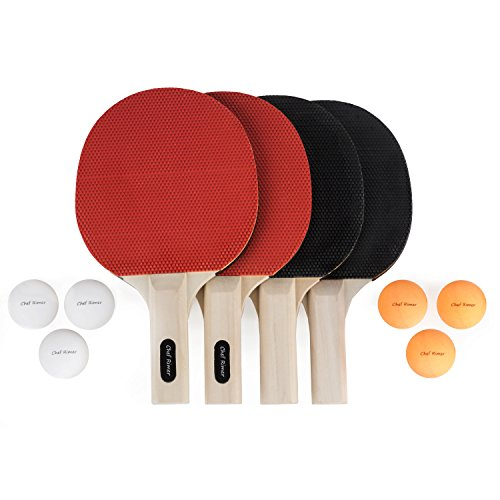 Chef Rimer Table Tennis Set 4 Player Lightweight Ping Pong Paddles Premium Rubber Rackets Pack. 6 Balls. Outdoor 2 or 4 Players Table Tennis Game. Bats For Kids,Adults,Junior,Recreational,Professional (Tennis Junior Player)