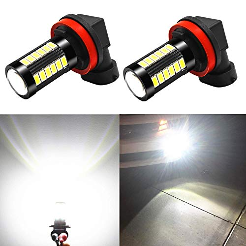 Alla Lighting H11 LED Fog Light Bulbs DRL 2800lm Xtreme Super Bright H11 LED Bulb 5730 33-SMD 12V LED H11 Bulb for LED H8 H16 H11 Fog Lights DRL - 6000K Xenon White (Amber Murano Crystal)