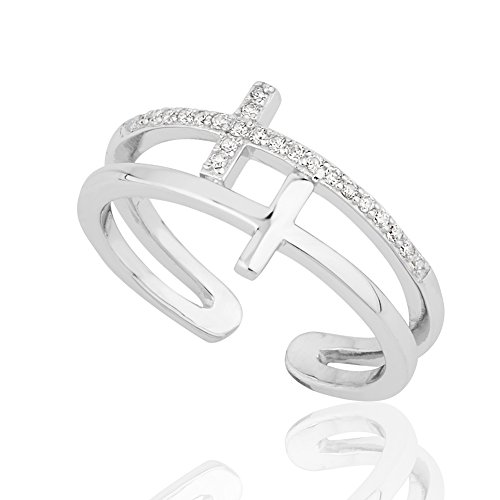 Rhodium Plated 925 Sterling Silver CZ Cubic Zirconia Double Thin Line Cross Ring, Adjustable 6-9