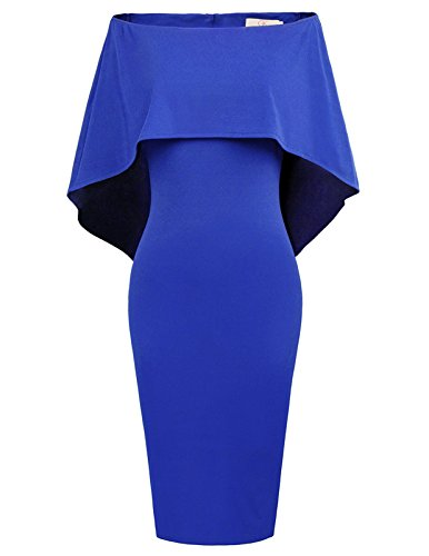 (GRACE KARIN Women Off Shoulder Batwing Cape Midi Dress L Royal Blue)