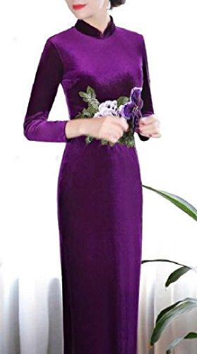 Long Comfy Pleuche Purple Womens Photography Painting Split Dress EEr6Pw