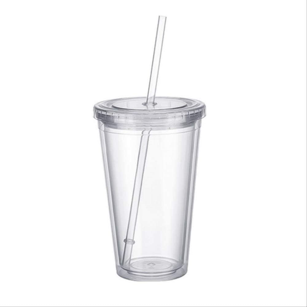 AYQX Taza de café Bebida Helada de Doble Pared de plástico Jugo de café Té Taza de Viaje Taza de Botella con Pajita Líquido Tapa de Vaso 500 ml Transparente