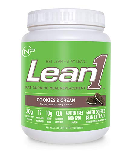 (Nutrition 53 Lean 1 Meal Replacement Powder for Weight Loss, Fat Burner, Appetite Control Regular Tub 2500cc Cookies & Cream (15)