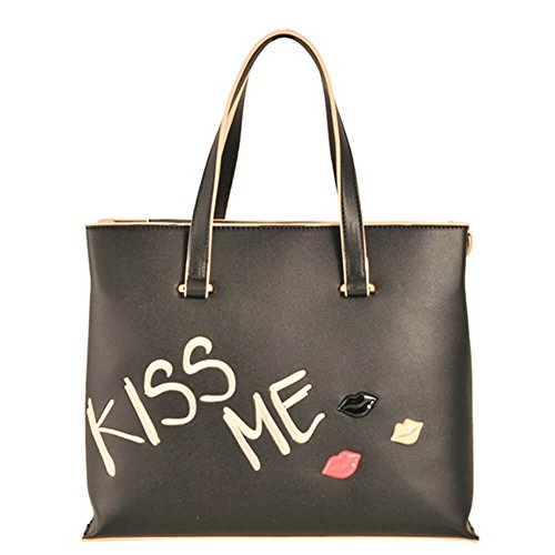 TOSCA BLU SHOPPING CON RICAMO KISS ME #BLUTOSCABLUALTRO / LINEA KISS ME / Art. TS1882B31 col nero c99
