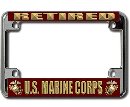 Motorcycle Corps Marine - U.S. Marine Corps Retired Chrome Motorcycle License Plate Frame