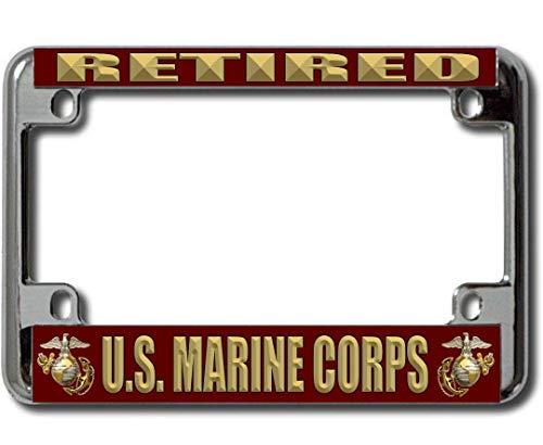 U.S. Marine Corps Retired Chrome Motorcycle License Plate Frame (Marine Motorcycle Helmet)