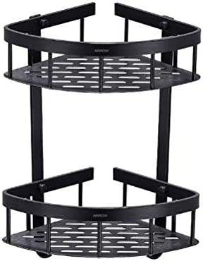 Bathroom Corner Shelf Alumium Black Rack Organizer Storage Shower Wall Basket