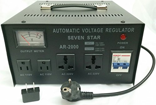 SEVENSTAR 2000 WATT Voltage Regulator Power Converter, Black (AR 2000)