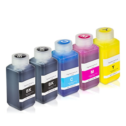 Pigment Ink Refill Bottles (5 Bottles (100ml) Refill Ink - ALLINKTONER HP Compatible (2 Black + Cyan , Magenta, Yellow) Pigment for HP Printers)