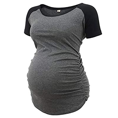 Women's Stretchy Short Sleeve Ruched Maternity Shirts Pregnancy T Shirt Top Mamma Casual Clothes Tee Mom Gift