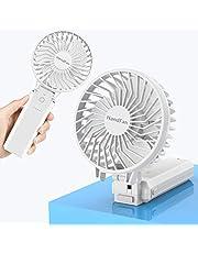HandFan Handheld Portable Fan Foldable Desktop Fan USB Rechargeable Fan Battery Operated Fan with 5200mAh Power Bank Function Mini Electric Personal Fan for Office/Home/Outdoor/Camping/Stroller