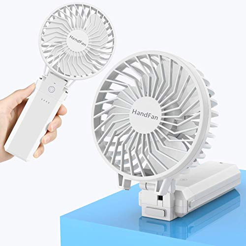HandFan Handheld Fan Battery Operated Personal Fan Rechargeable Portable Fan 180 Foldable with 5200mAh Power Bank 5 Speeds 20H Working Time Detachable Washable for Household Office Travel Camping