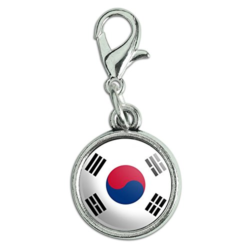 Korea Country Flag (Antiqued Bracelet Pendant Charm with Lobster Clasp Country National Flag O-S - South Korea National Country Flag)