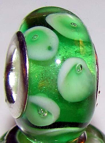Green White Dot Lampwork Murano Glass European Bead for Silver Charm Bracelet Vintage Crafting Pendant Jewelry Making Supplies - DIY for Necklace Bracelet Accessories by CharmingSS