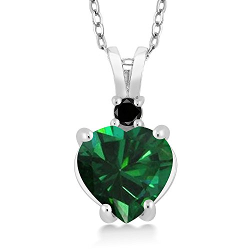 14K White Gold Heart Pendant with 1.5 Ct Green Simulated Emerald Black Diamond