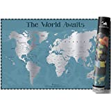 Large Scratch Off World Map - 34in x 22in – Canadian Provinces and US States Individually Labeled – Enlarged Caribbean and Hawaiian Islands – Glossy finish with vibrant colours a perfect gift for Travellers - by Harrister