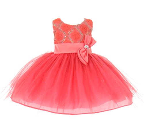 StylesILove Baby Girls Sequin Bow Sash Tulle Special Occasion Dress (12 Months, (Coral Girls Dresses)
