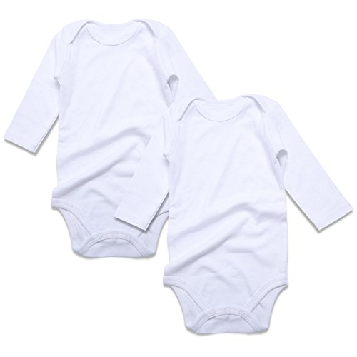 White Baby Long Sleeve Bodysuit 2-Pack Soft Cotton Unisex Onesie 18-24 Months