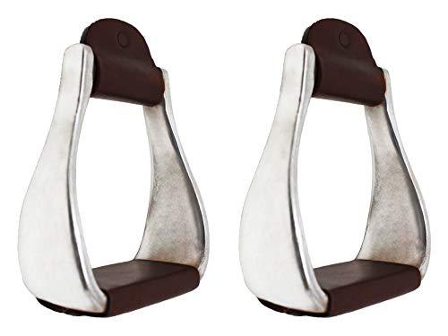 Pro Rider Horse Saddle Aluminum Western Stirrups Leather Tread Tack Adult Brown ()