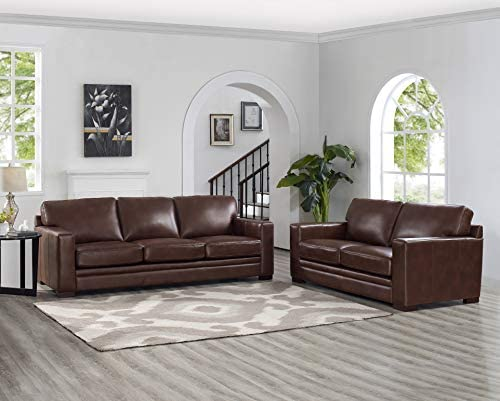 Hydeline Dillon 100 Leather Sofa Couch Set Sofa, Loveseat, Brown