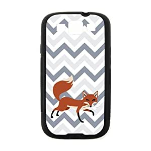 Adorable Cleverness Small Fox Walking Leisurely Blue White Purple Chevron Samsung Galaxy S3 I900 Case Cover (Laser Technology)