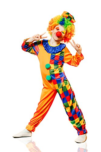 Ideas Girl Joker Costume (Kids Unisex Motley Clown Halloween Costume Circus Juggler Dress Up & Role Play (6-8)