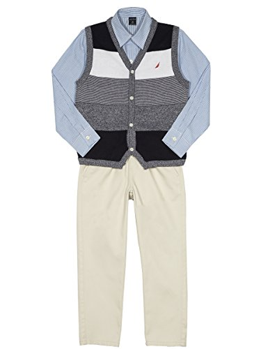 Nautica Boys' Toddler Three Piece Set with Sweater, Woven Shirt, and Twill Pant, Sport Navy Vest, 4T ()