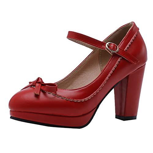 (Vitalo Womens Vintage Rockabilly Shoes Mary Jane Chunky High Heels Platform Pumps with Bowtie Size 8.5 B(M) US,2)