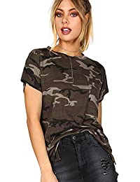 Women's Casual Camouflage Round Neck Short Sleeve T-shirt Tops
