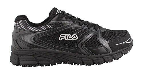 Fila Men's Memory Reckoning 7 Work Slip Resistant Steel Toe Running Shoe, Black/Black/Metallic Silver, 10 M US 1SR21264