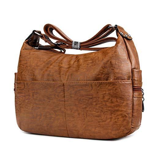 Purse Double Bag Tote Handbag - Women Crossbody Bag Large Capacity Shoulder Bag Purse Hobo Handbag Double Zipper Totes Bags Leparvi (Brown)